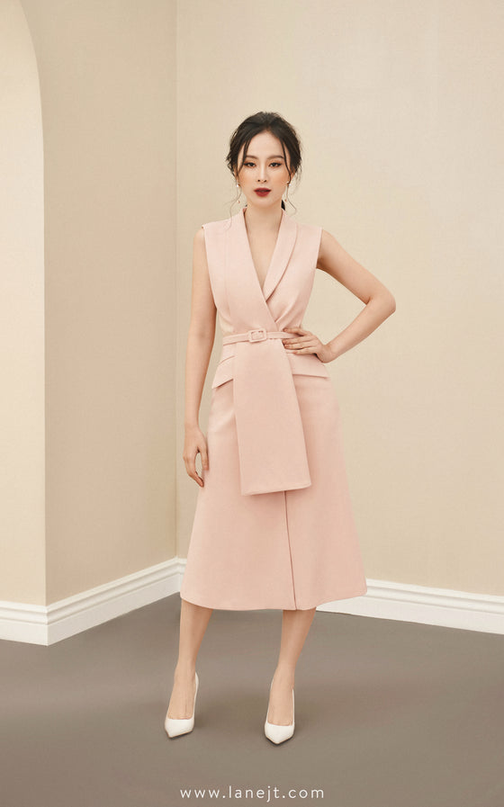CARISSA Belted Blazer Midi Dress