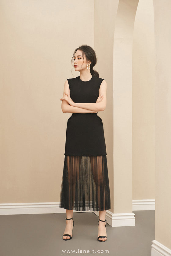REINE Pleated Sheer Dress