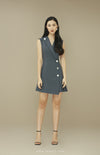 RACHEL Sleeveless Silver Button Dress