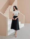 Pleated Midi Skirt with Hidden Pockets
