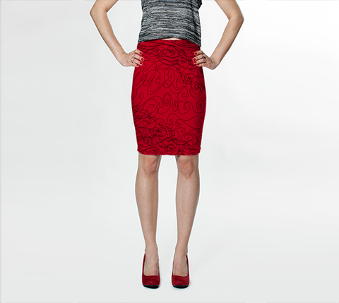 Graphite Red Fitted Skirt