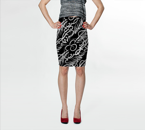 Black Scroll Stripe Skirt