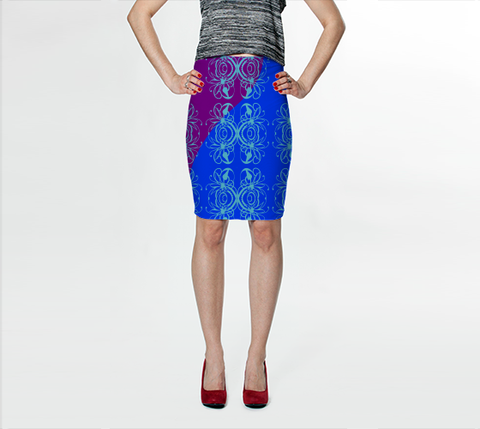 Bright Flower Blue Fitted Skirt