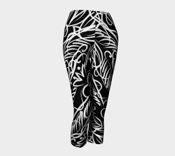Black Scroll Allover Runner Capri