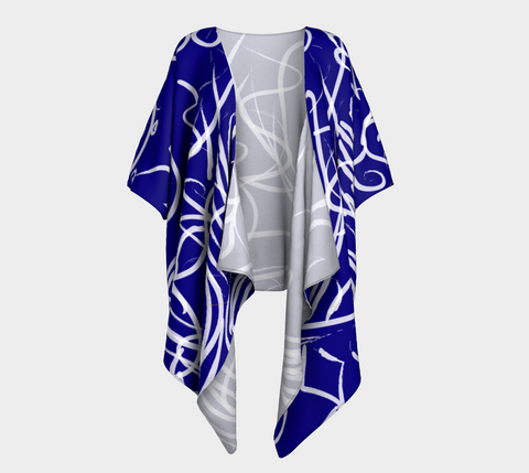 Scroll Navy Draped Shrug