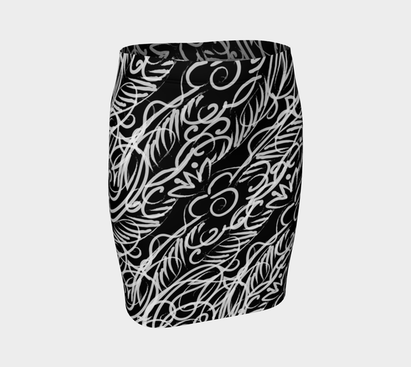 Black Scroll Fitted Skirt