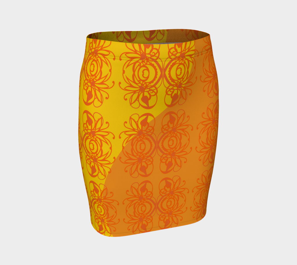 Bright Flower Gold Fitted Skirt