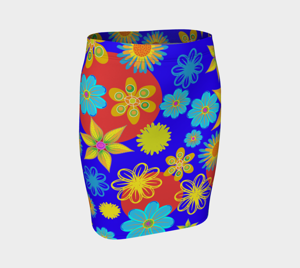 Flower Max Color Fitted Skirt