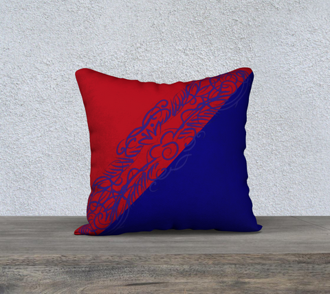Red Blue 18 x 18 Pillow case only