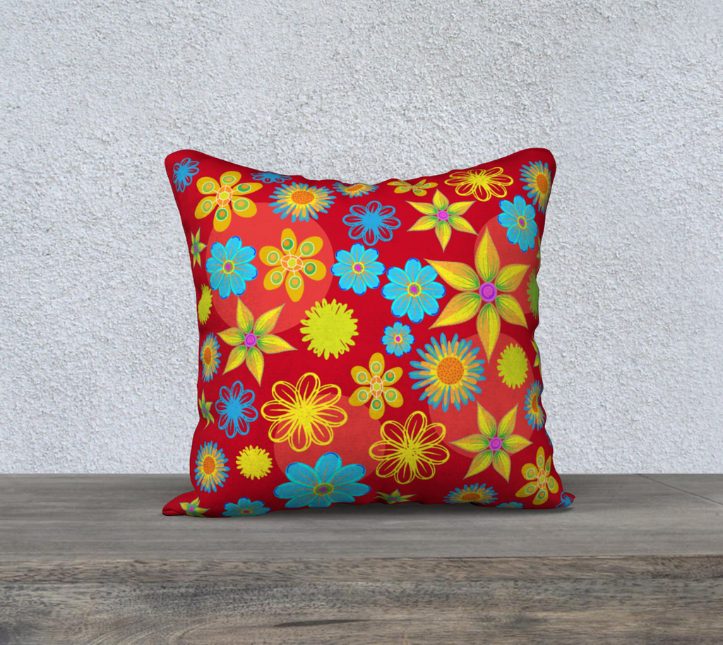 Flower Max Red 18 x 18 Pillow Case