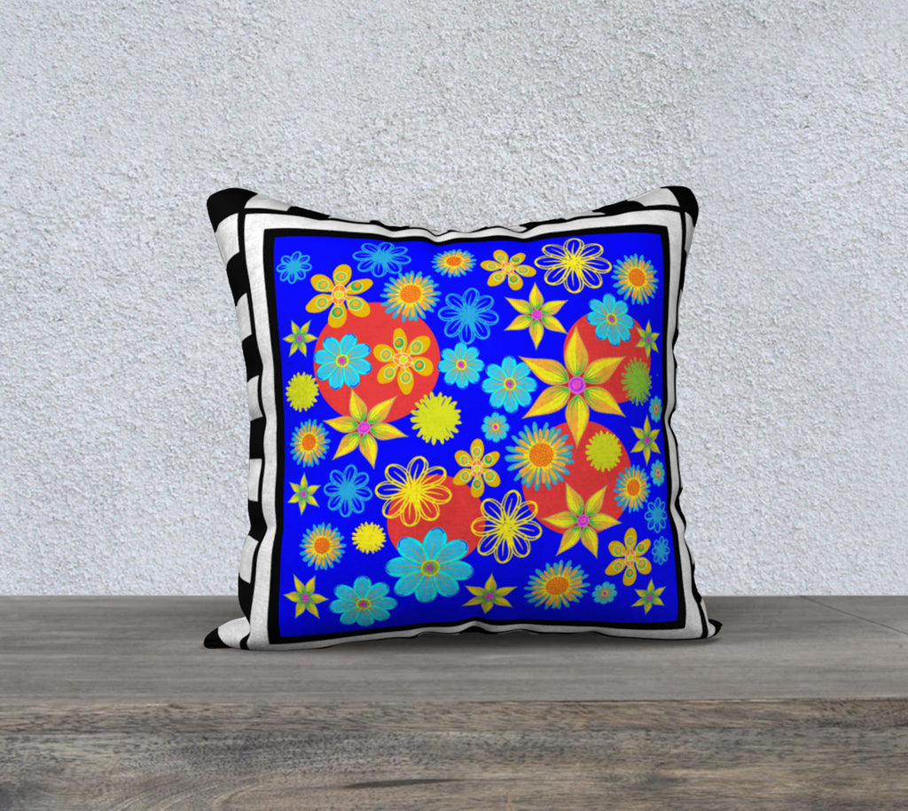 Flower Patch Blue 18 x 18 pillow case
