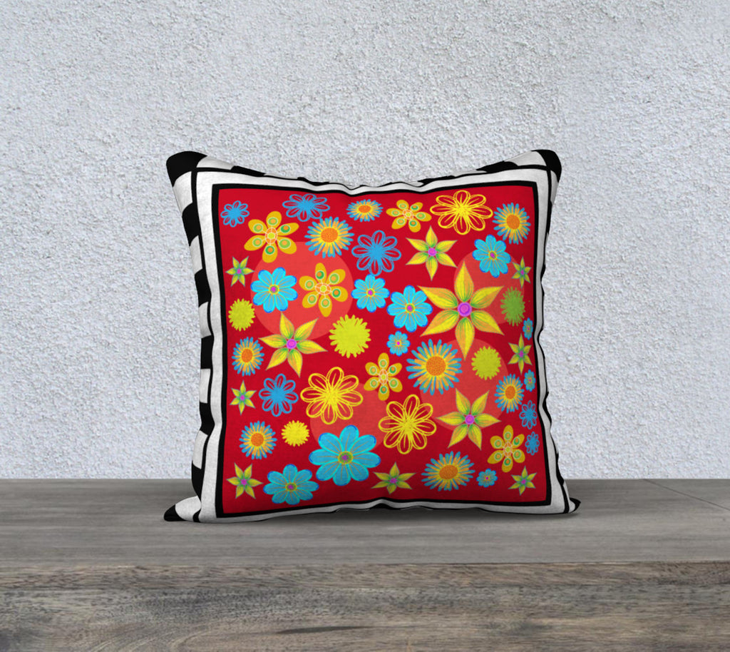 Flower Patch Red 18 x 18 pillow case