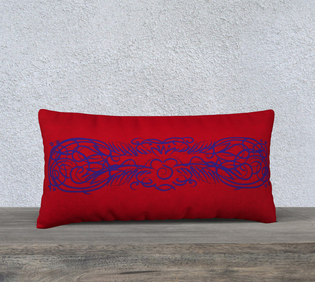 Blue on Red Scroll Sleep (case only) 24 x 12