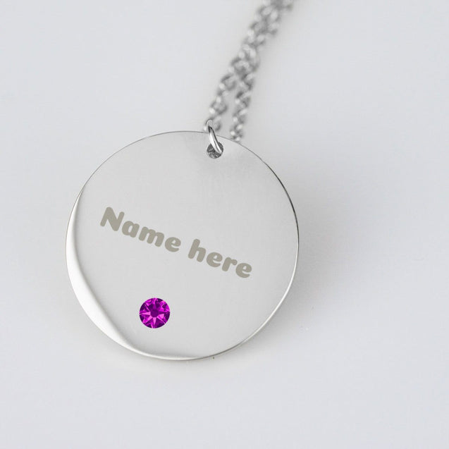 Personalized stainless steel, round name charm necklace with choice of swarovski birthstone
