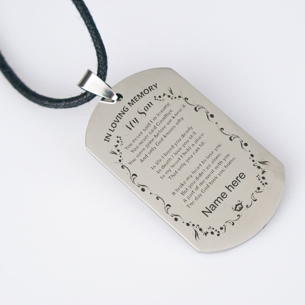 "In loving memory of my son ""Personalize Necklace"""