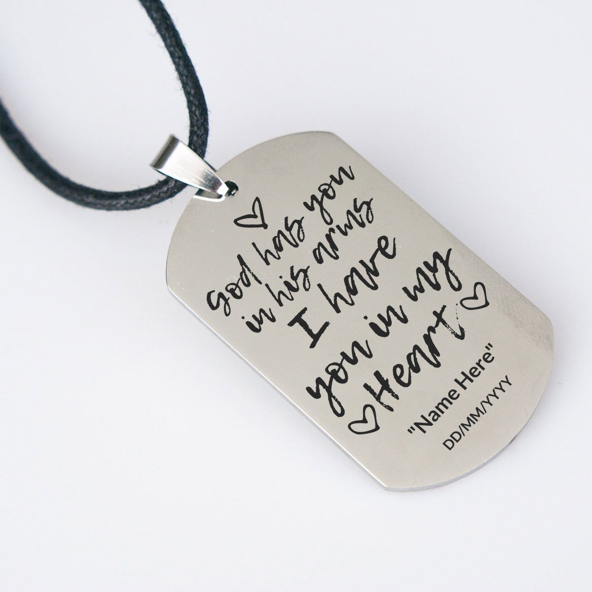 God has you in his arms - Keepsake Necklace