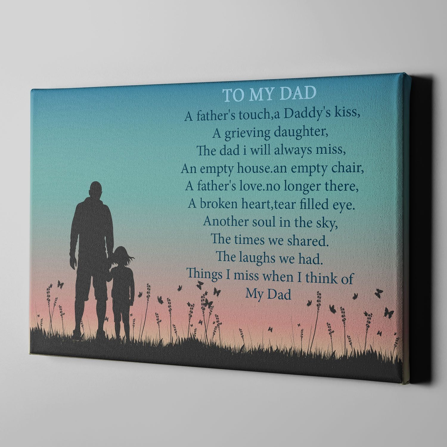 To My Dad Memorial Canvas