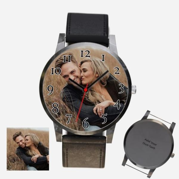 Unisex Engraved Photo Watch Black Leather Strap With Black Case