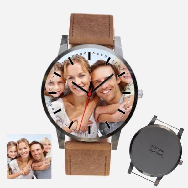 Unisex Engraved Photo Watch Brown Leather Strap With Silver Case