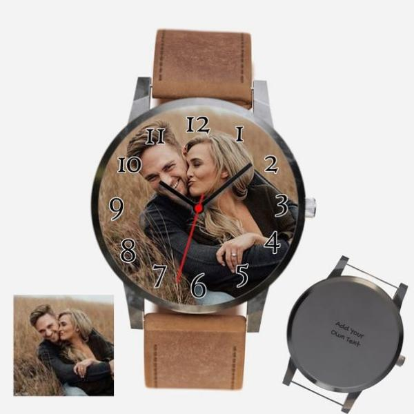 Unisex Engraved Photo Watch Braun Leather Strap With Black Case