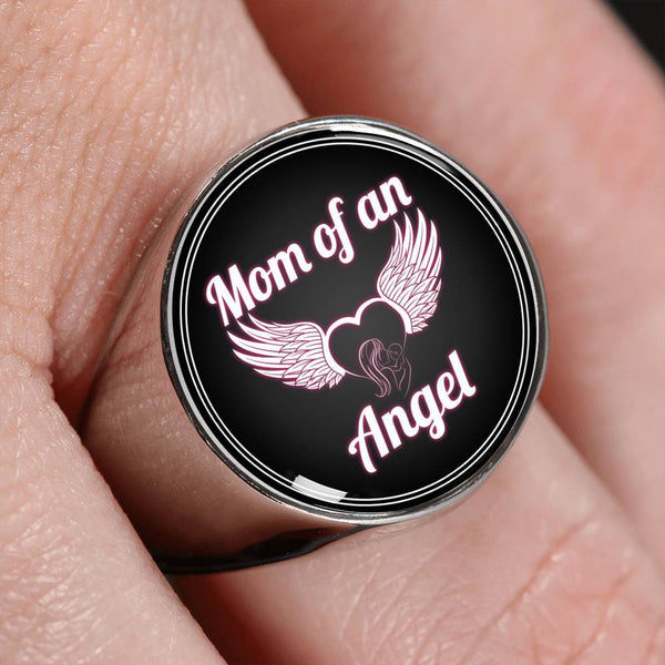 Mom of an angel surgical steel ring