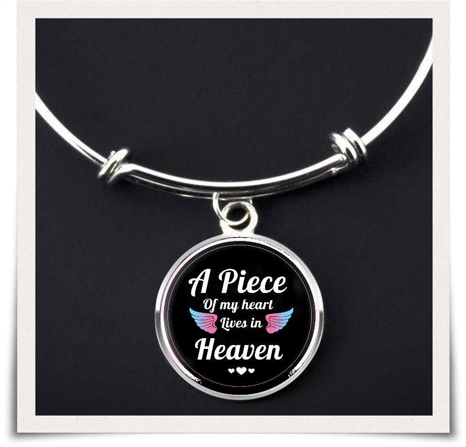 A piece of my heart lives in heaven - necklace & bangles