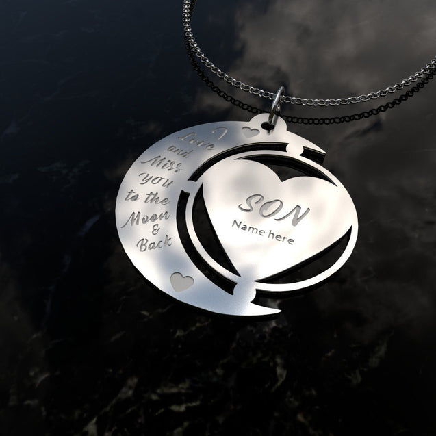 "I love you to the moon and back ""Son"" Name Necklace"