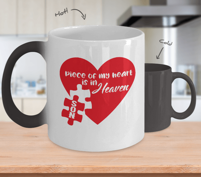 Piece of my heart my son color changing mug