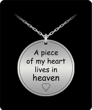Laser Engraved Necklace - A Piece Of My Heart Engraved Necklace