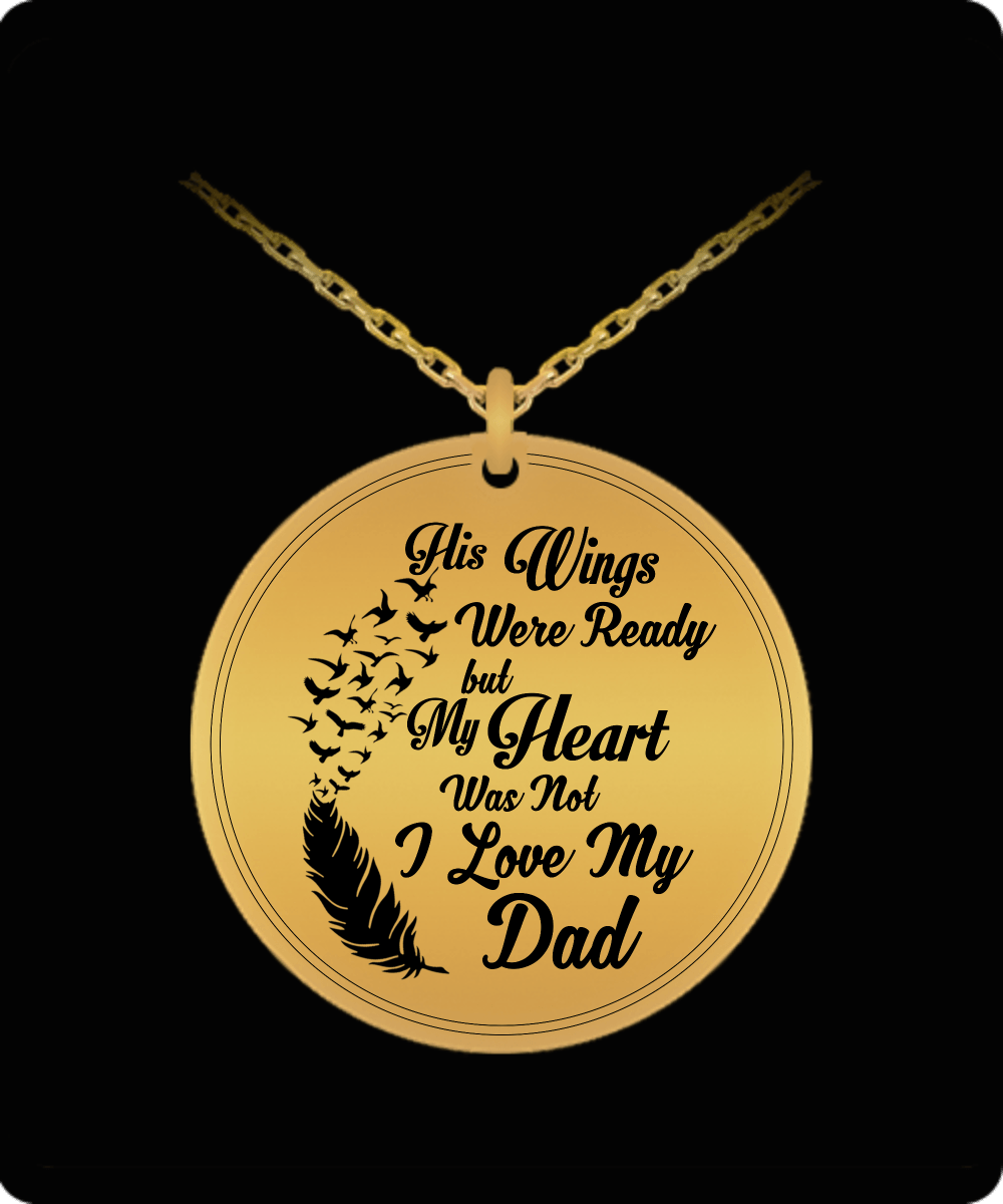 Laser Engraved Necklace - I Love My Dad Engraved Necklace