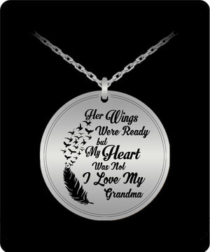 Laser Engraved Necklace - I Love My Grandma Engraved Necklace