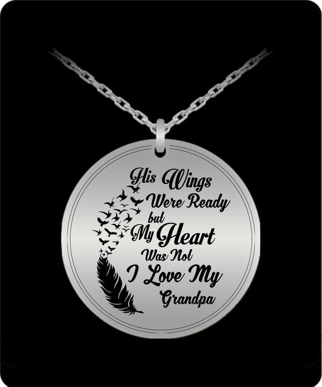 Laser Engraved Necklace - I Love My Grandpa Engraved Necklace
