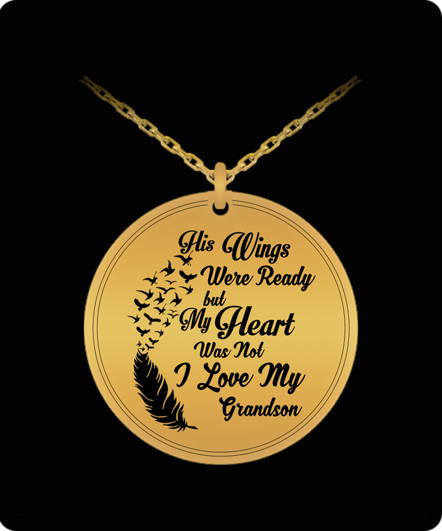 Laser Engraved Necklace - I Love My Grandson Engraved Necklace