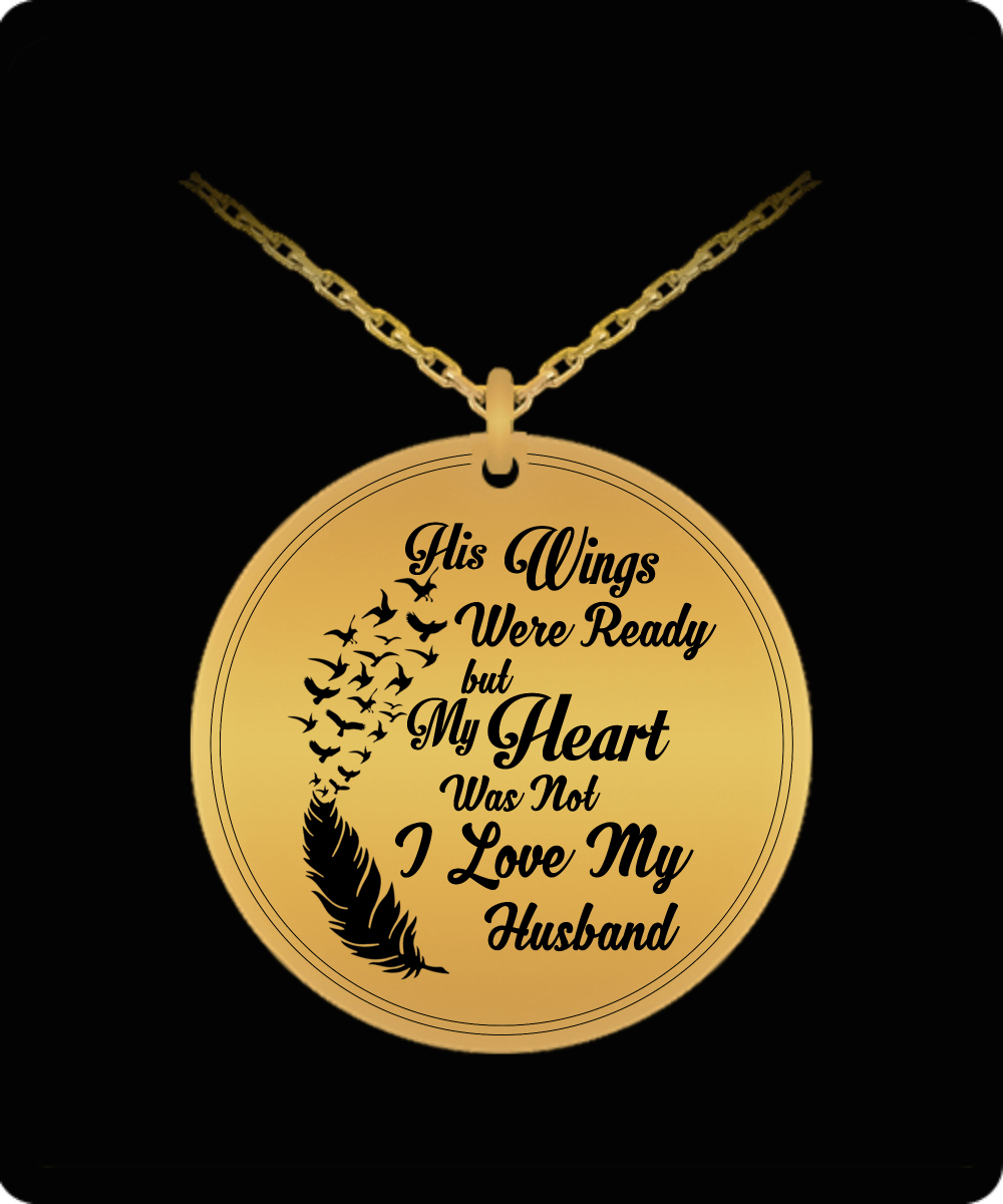 Laser Engraved Necklace - I Love My Husband Engraved Necklace