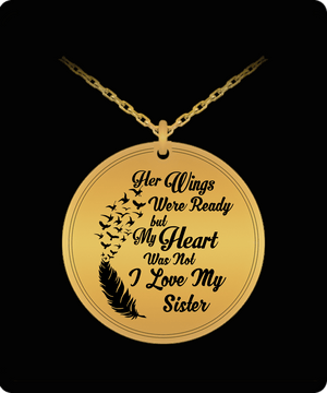 Laser Engraved Necklace - I Love My Sister Engraved Necklace