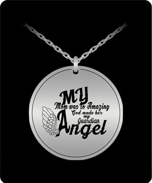 Laser Engraved Necklace - My Mom Is My Guardian Angel