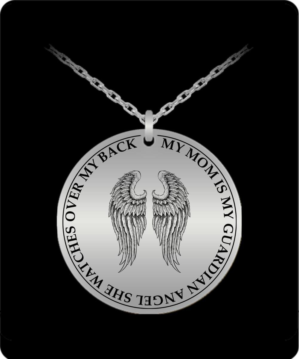 My mom is my guardian angel engraved necklace perveengoods laser engraved necklace my mom is my guardian angel engraved necklace aloadofball Gallery