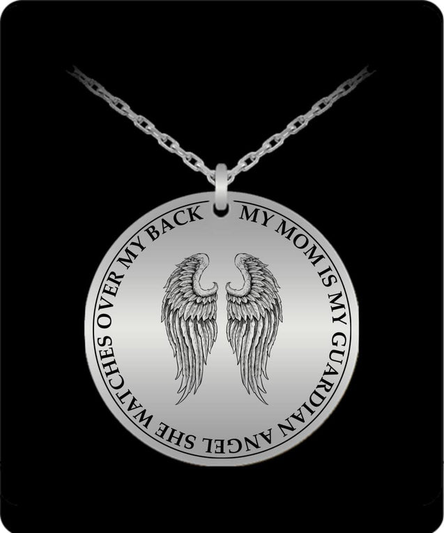 Laser Engraved Necklace - My Mom Is My Guardian Angel Engraved Necklace