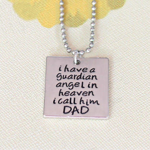 Necklace - I Have A Guardian Angel In Heaven I Call Him Dad Memorial Pendant Necklace