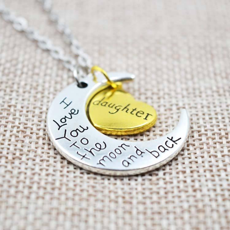 I love you to the moon and back daughter necklace perveengoods necklace i love you to the moon and back daughter necklace mozeypictures Images
