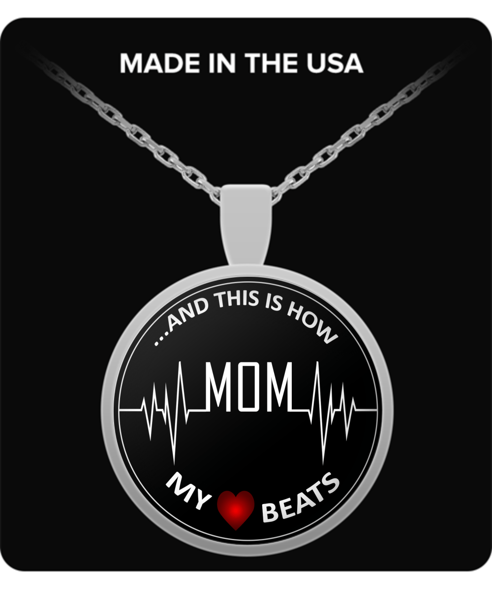"Necklace - My Heart Beats ""Mom"""