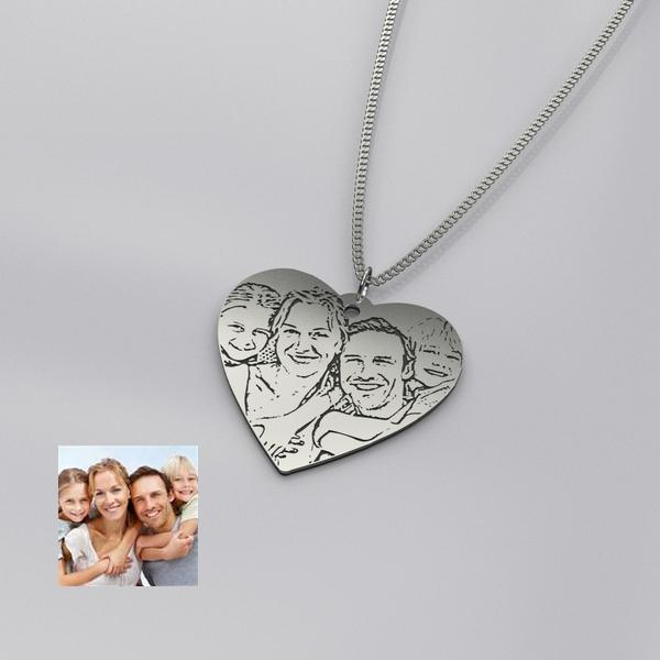 Photo Engraved Heart Shape Necklace