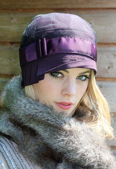 Purple Cloche Hat with Lace