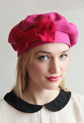 Red 1940s Bow Beret - Anna Chocola Millinery
