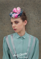 Blue Rose Coquette Pillbox - Anna Chocola Millinery
