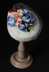 Custom made bridal satin 1950s retro pillbox hat ivory powder blue