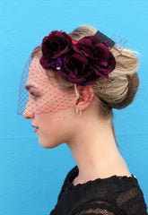 Deep Red flower Headpiece with Veil - Anna Chocola Millinery