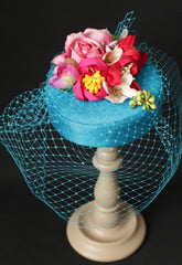 Teal, Pink and Red Handmade Silk Flowers