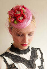 Silk Coquette with handmade flowers and birdcage veil - Anna Chocola Millinery