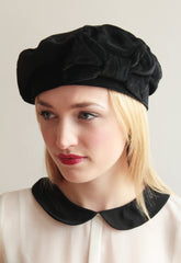 Black 1940s Bow Beret - Anna Chocola Millinery